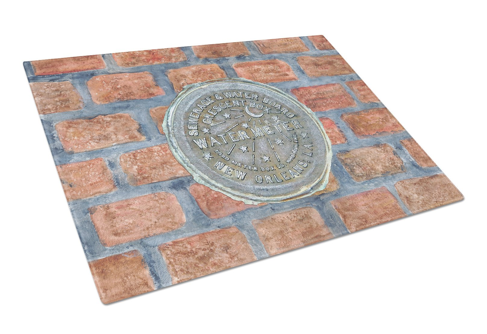 New Orleans Watermeter on Bricks Glass Cutting Board Large by Caroline's Treasures
