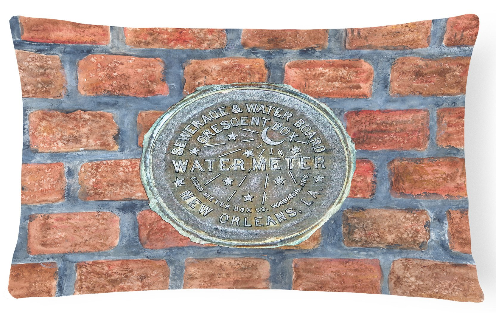 Buy this New Orleans Watermeter on Bricks   Canvas Fabric Decorative Pillow