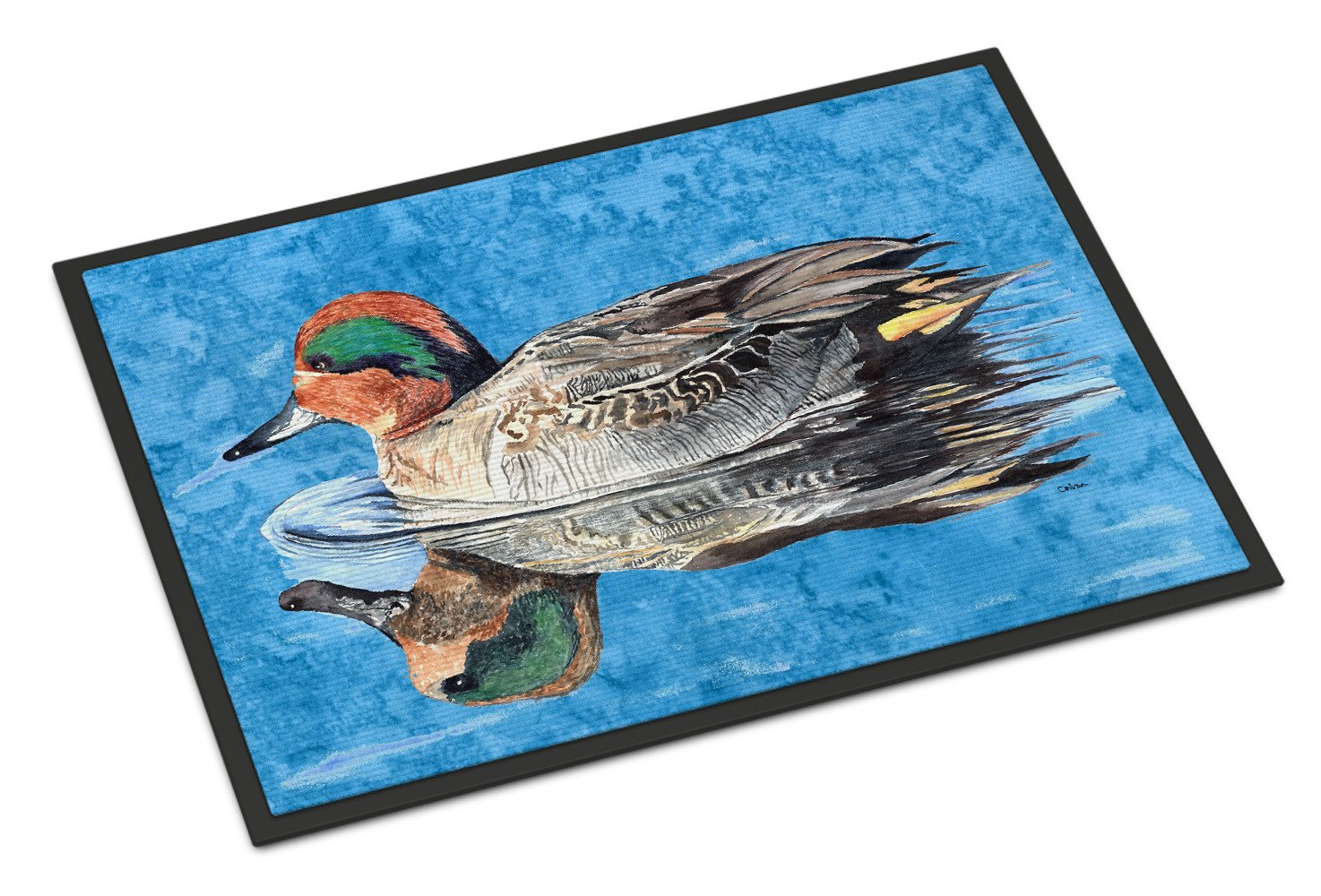 Teal Duck Indoor or Outdoor Mat 18x27 by Caroline's Treasures