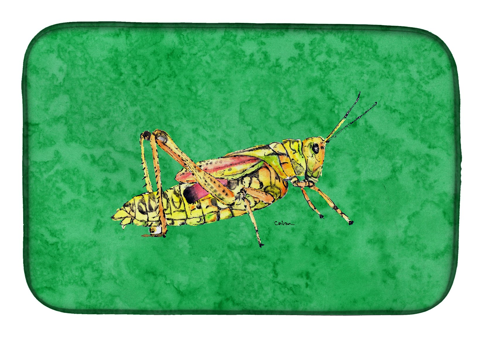 Grasshopper on Green Dish Drying Mat 8849DDM by Caroline's Treasures