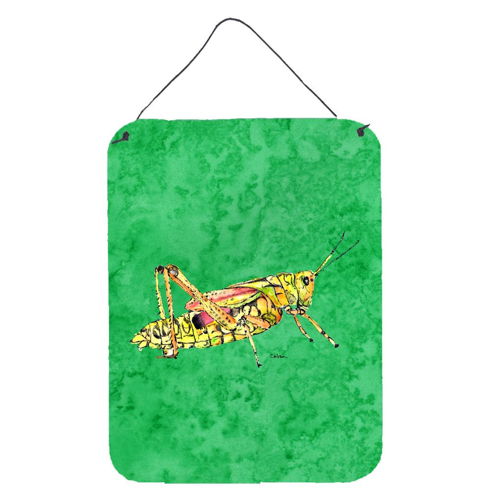 Grasshopper on Green Aluminium Metal Wall or Door Hanging Prints by Caroline's Treasures