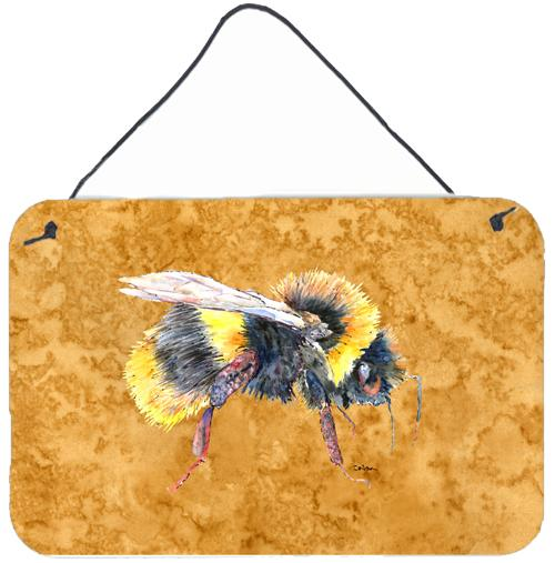 Bee on Gold Aluminium Metal Wall or Door Hanging Prints by Caroline's Treasures