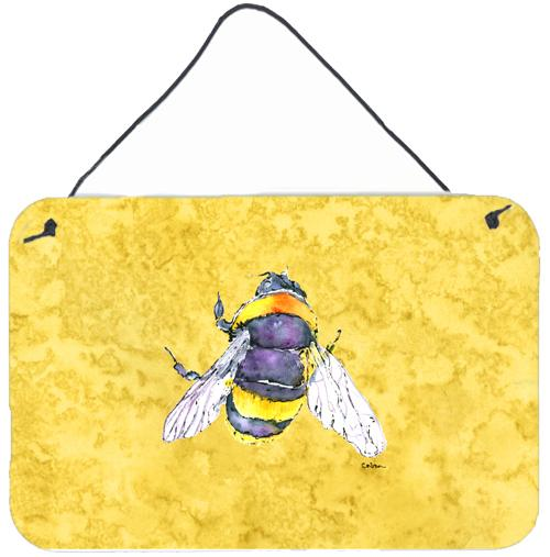 Bee on Yellow Aluminium Metal Wall or Door Hanging Prints by Caroline's Treasures