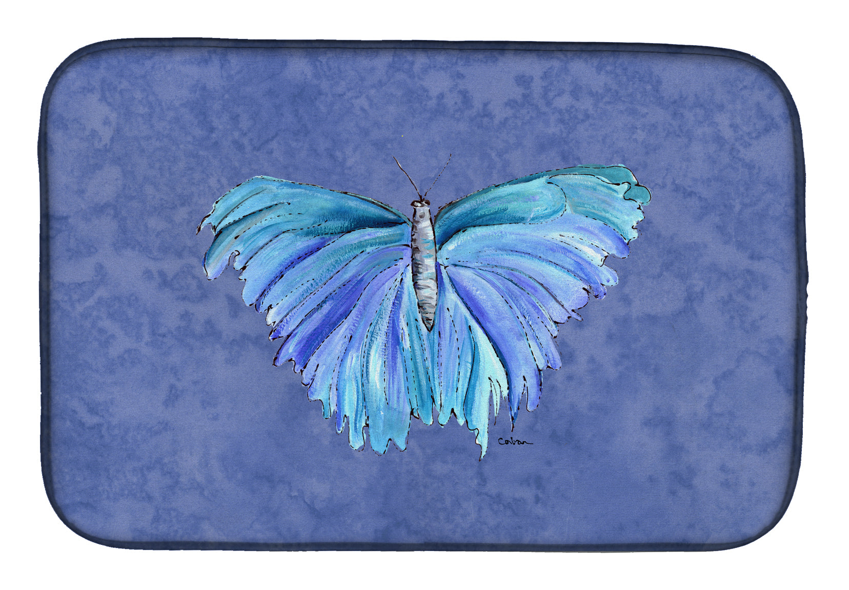 Buy this Butterfly on Slate Blue Dish Drying Mat 8855DDM