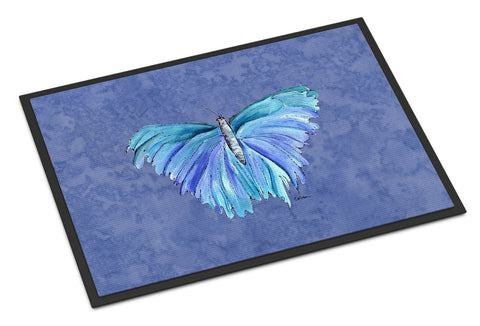 Buy this Butterfly on Slate Blue Indoor or Outdoor Mat 18x27 Doormat