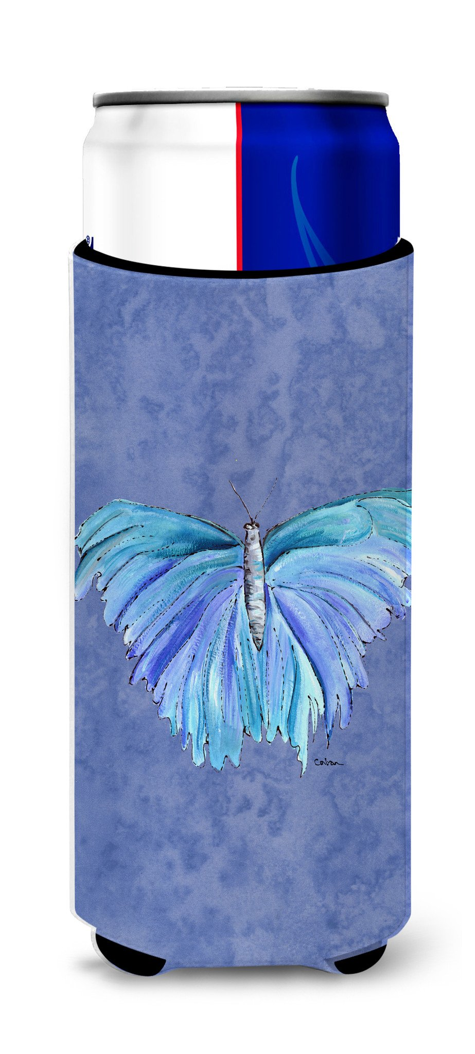 Butterfly on Slate Blue Ultra Beverage Insulators for slim cans 8855MUK - the-store.com