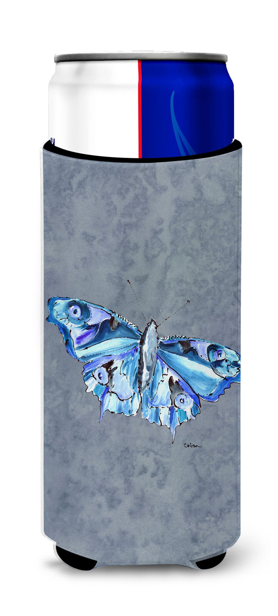 Butterfly on Gray Ultra Beverage Insulators for slim cans 8856MUK - the-store.com