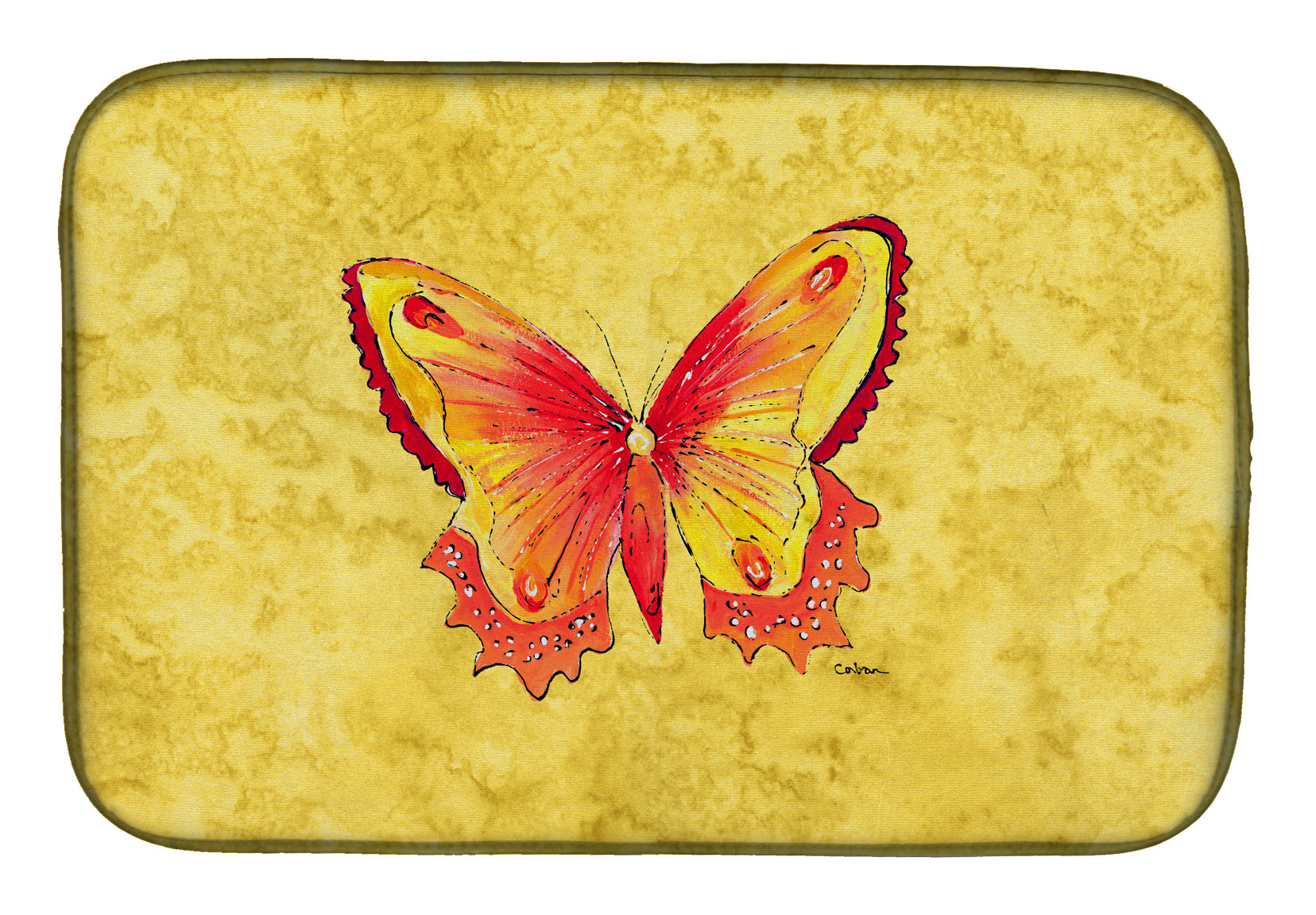 Buy this Butterfly on Yellow Dish Drying Mat 8857DDM