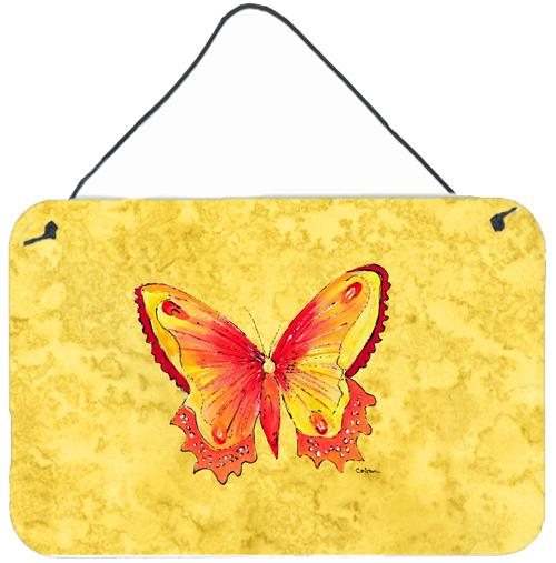 Buy this Butterfly on Yellow Aluminium Metal Wall or Door Hanging Prints