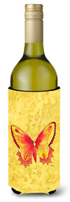 Butterfly on Yellow Wine Bottle Beverage Insulator Beverage Insulator Hugger by Caroline's Treasures