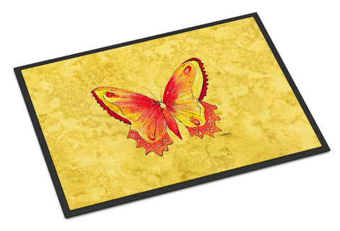 Buy this Butterfly on Yellow Indoor or Outdoor Mat 18x27 Doormat