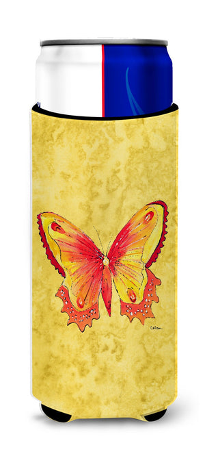 Butterfly on Yellow Ultra Beverage Insulators for slim cans 8857MUK - the-store.com