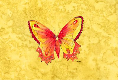 Butterfly on Yellow Fabric Placemat by Caroline's Treasures