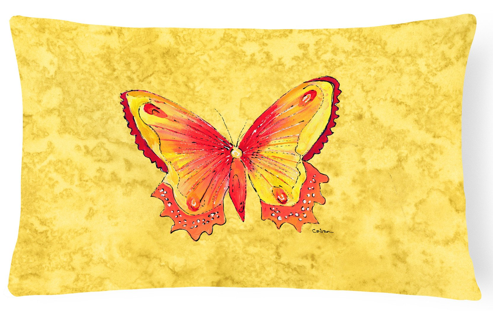 Butterfly on Yellow   Canvas Fabric Decorative Pillow by Caroline's Treasures