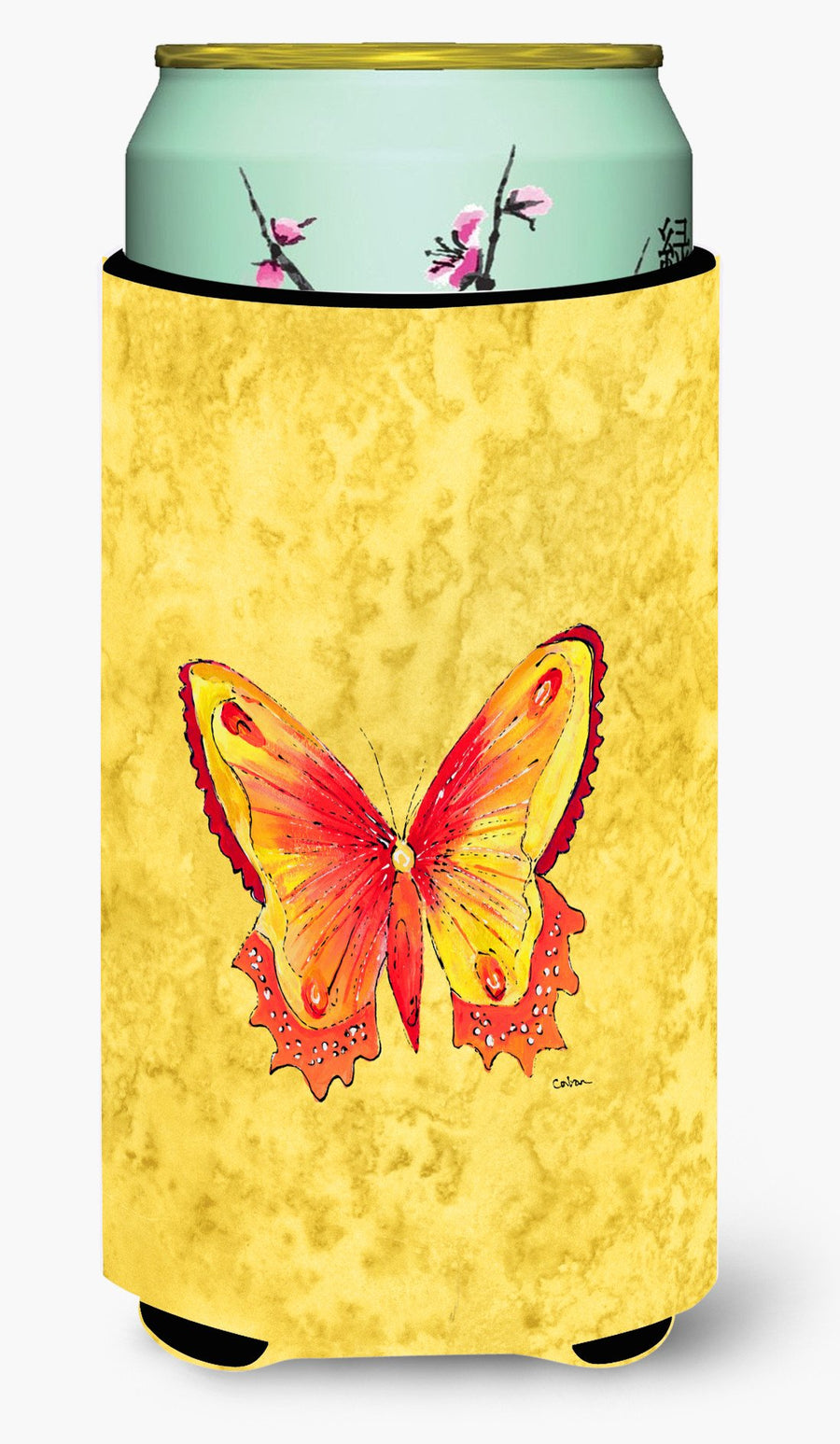 Buy this Butterfly on Yellow  Tall Boy Beverage Insulator Beverage Insulator Hugger