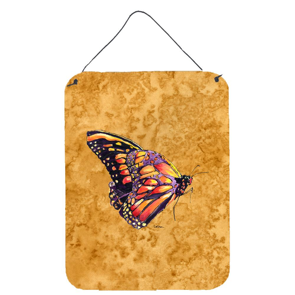 Butterfly on Gold Aluminium Metal Wall or Door Hanging Prints by Caroline's Treasures