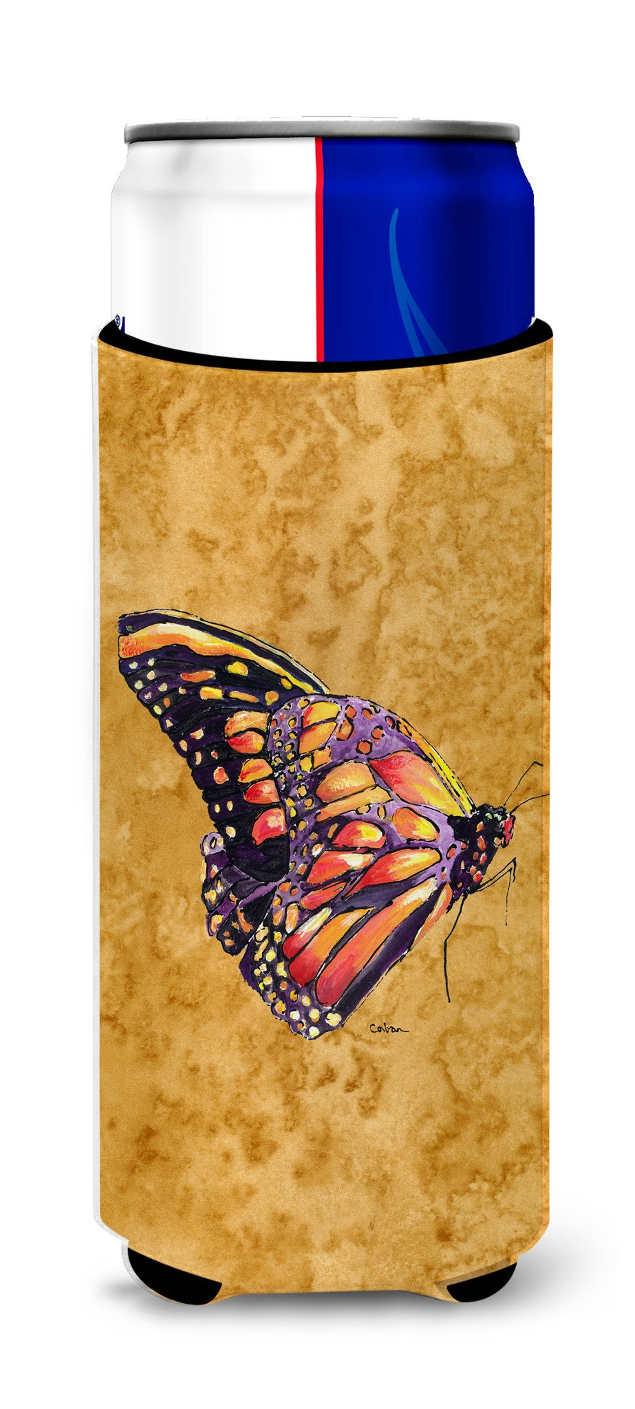 Butterfly on Gold Ultra Beverage Insulators for slim cans 8858MUK - the-store.com