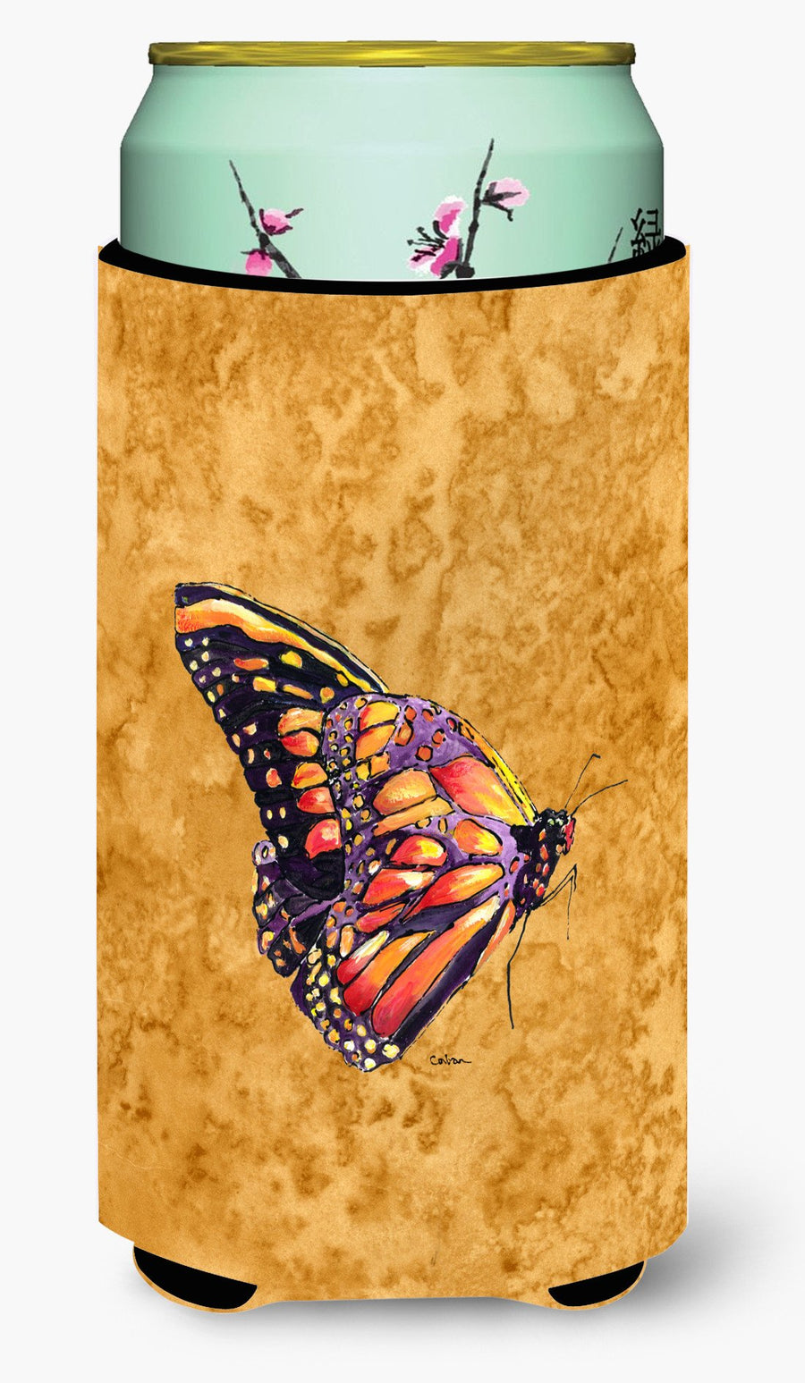 Buy this Butterfly on Gold  Tall Boy Beverage Insulator Beverage Insulator Hugger