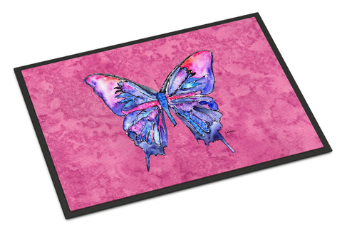 Buy this Butterfly on Pink Indoor or Outdoor Mat 24x36 Doormat