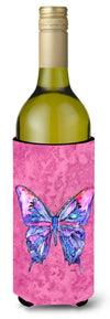 Butterfly on Pink Wine Bottle Beverage Insulator Beverage Insulator Hugger by Caroline's Treasures