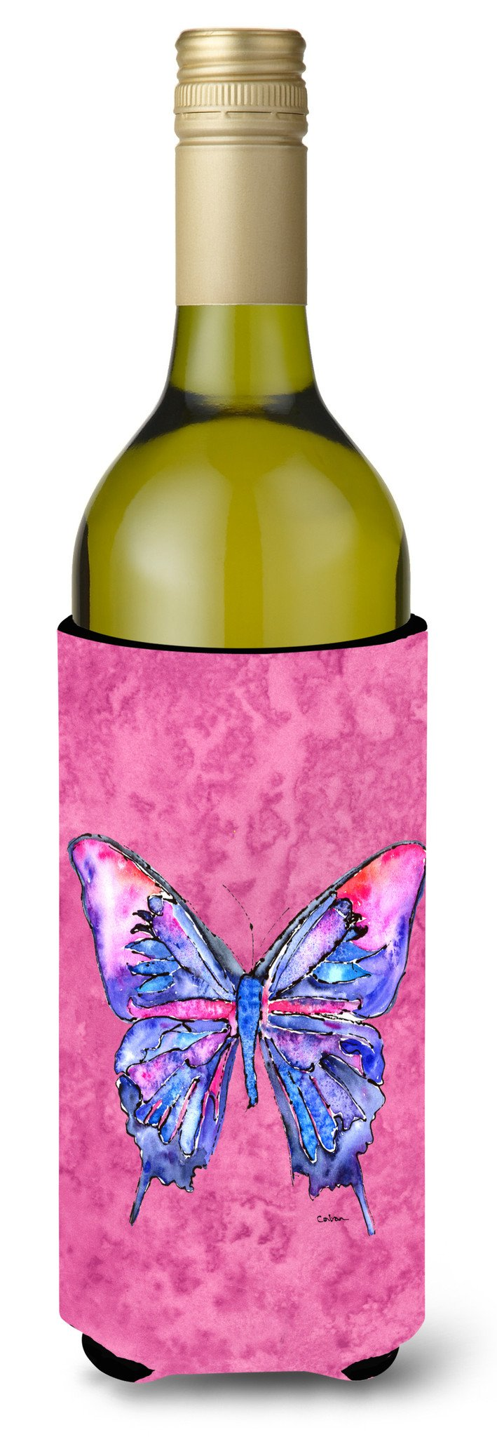 Buy this Butterfly on Pink Wine Bottle Beverage Insulator Beverage Insulator Hugger