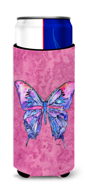 Butterfly on Pink Ultra Beverage Insulators for slim cans 8859MUK - the-store.com