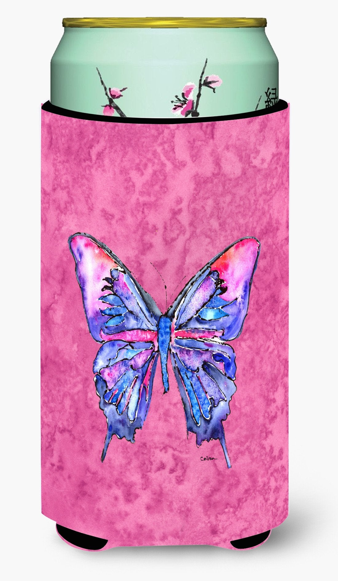 Buy this Butterfly on Pink  Tall Boy Beverage Insulator Beverage Insulator Hugger