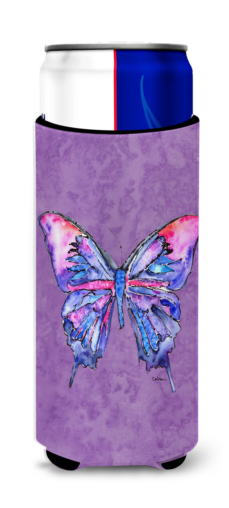 Butterfly on Purple Ultra Beverage Insulators for slim cans 8860MUK - the-store.com