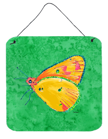Buy this Butterfly Orange on Green Aluminium Metal Wall or Door Hanging Prints
