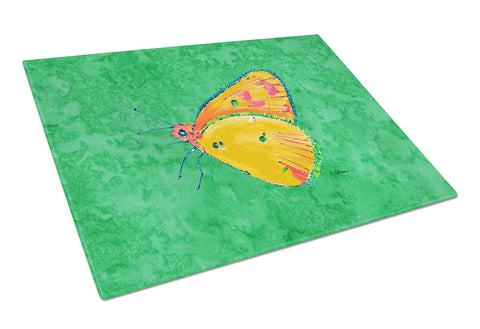 Buy this Butterfly Orange on Green Glass Cutting Board Large