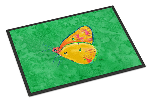 Buy this Butterfly Orange on Green Indoor or Outdoor Mat 18x27 Doormat