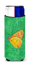 Butterfly Orange on Green Ultra Beverage Insulators for slim cans 8861MUK by Caroline's Treasures