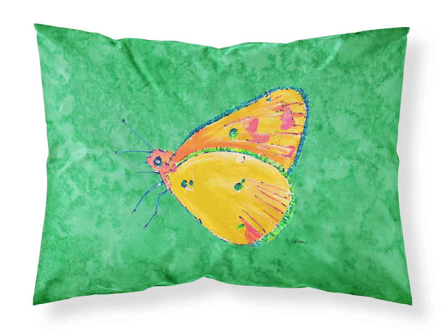 Butterfly Orange on Green Moisture wicking Fabric standard pillowcase by Caroline's Treasures