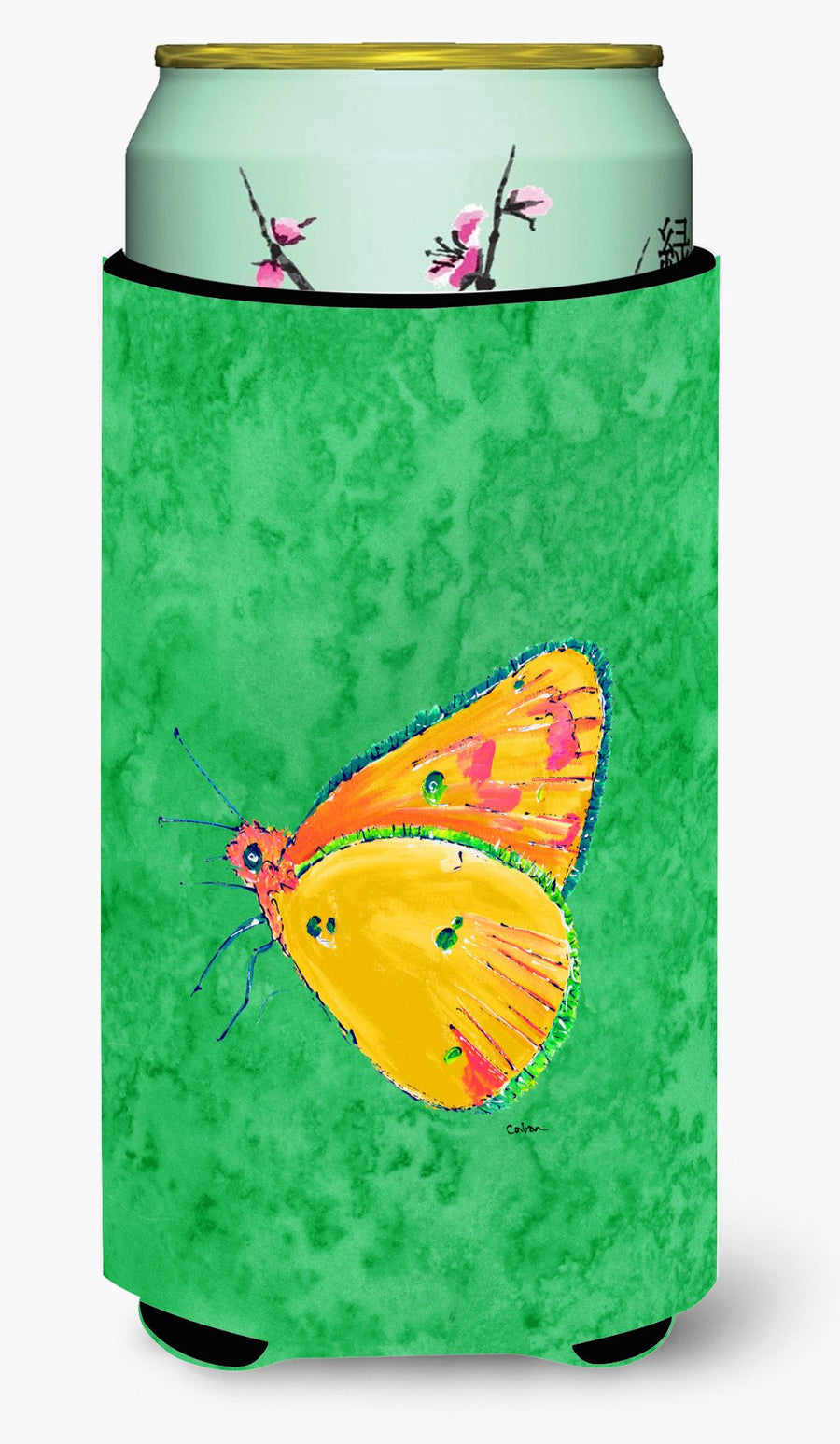 Buy this Butterfly Orange on Green  Tall Boy Beverage Insulator Beverage Insulator Hugger