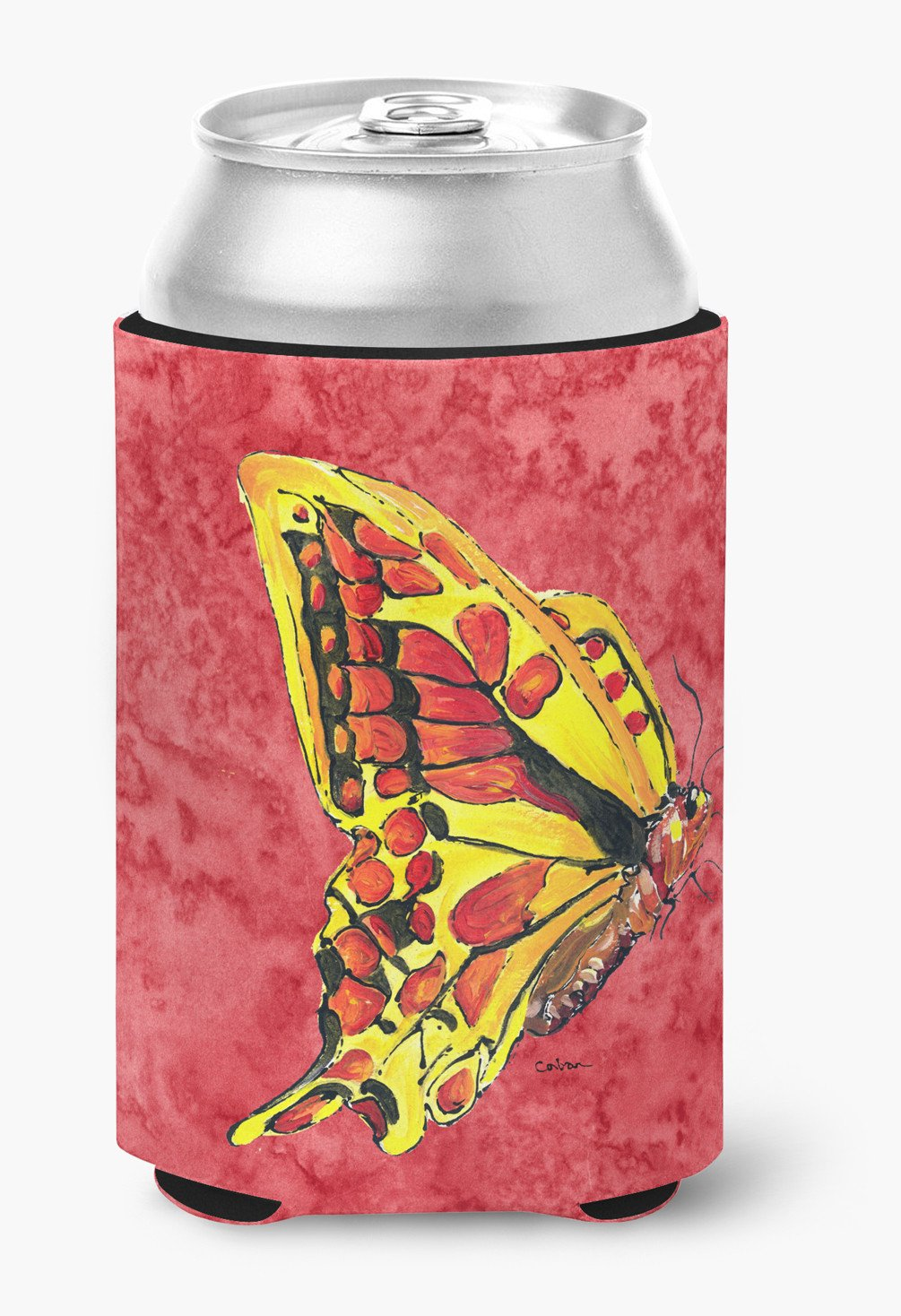 Butterfly on Red Can or Bottle Beverage Insulator Hugger by Caroline's Treasures