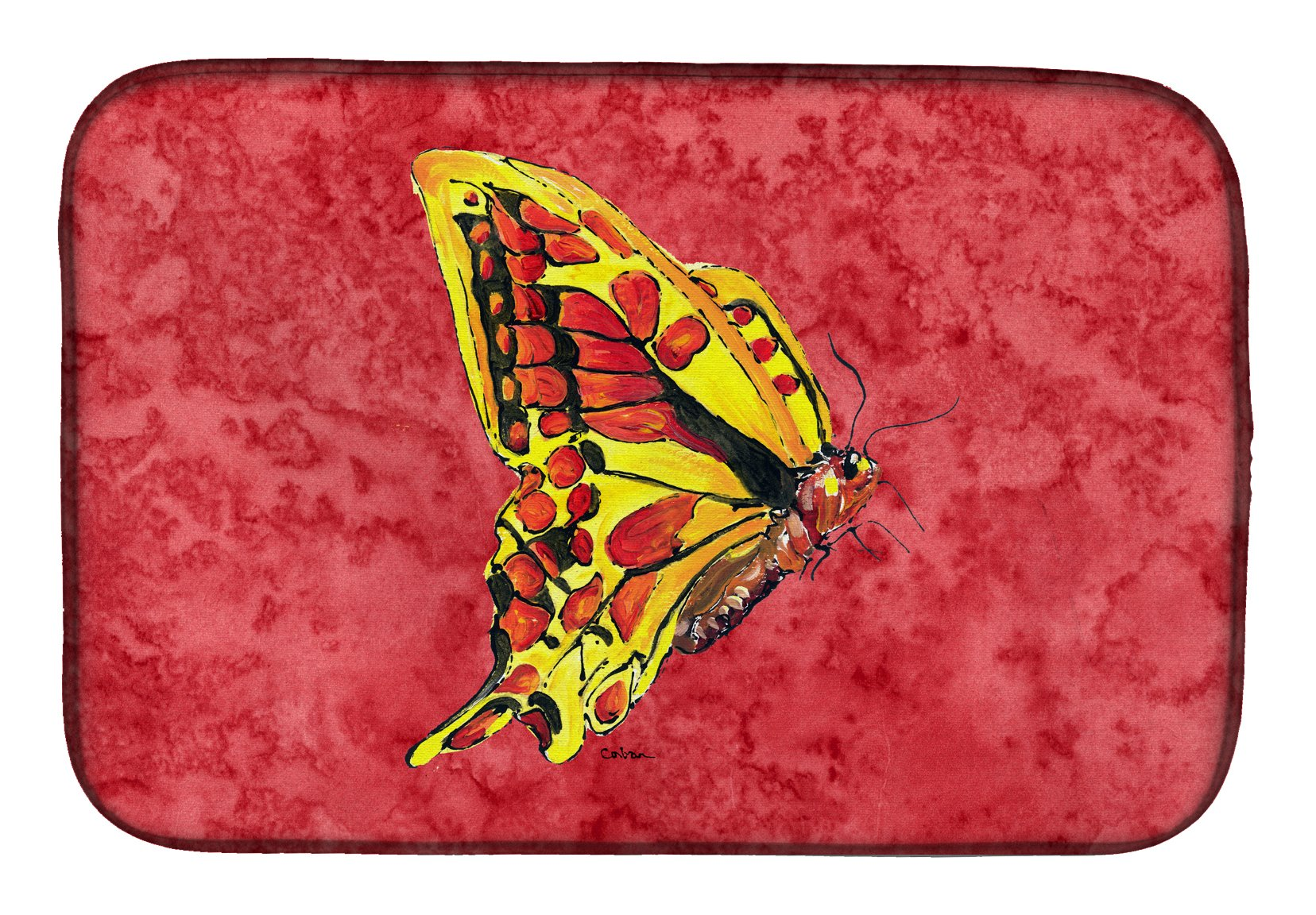 Butterfly on Red Dish Drying Mat 8862DDM by Caroline's Treasures