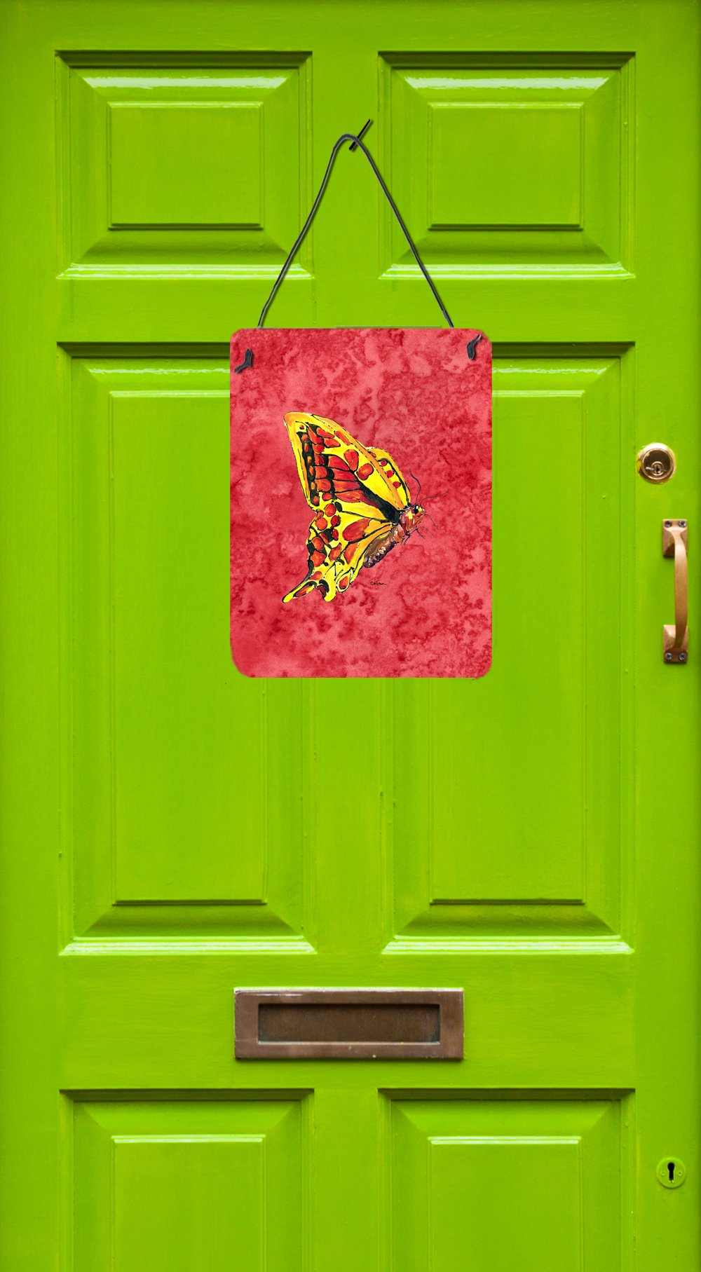 Butterfly on Red Aluminium Metal Wall or Door Hanging Prints by Caroline's Treasures