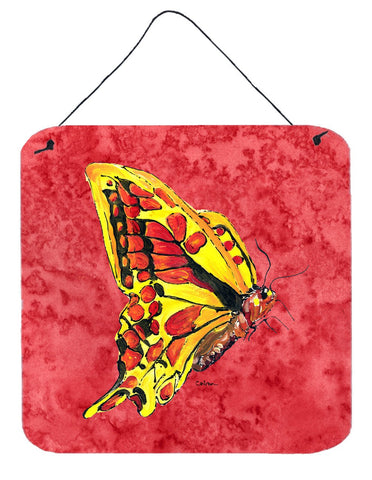 Buy this Butterfly on Red Aluminium Metal Wall or Door Hanging Prints