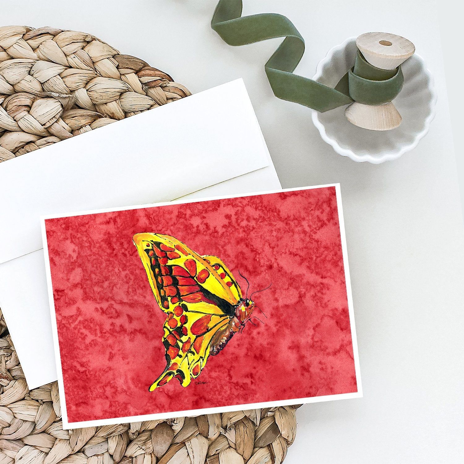 Buy this Butterfly on Red Greeting Cards and Envelopes Pack of 8