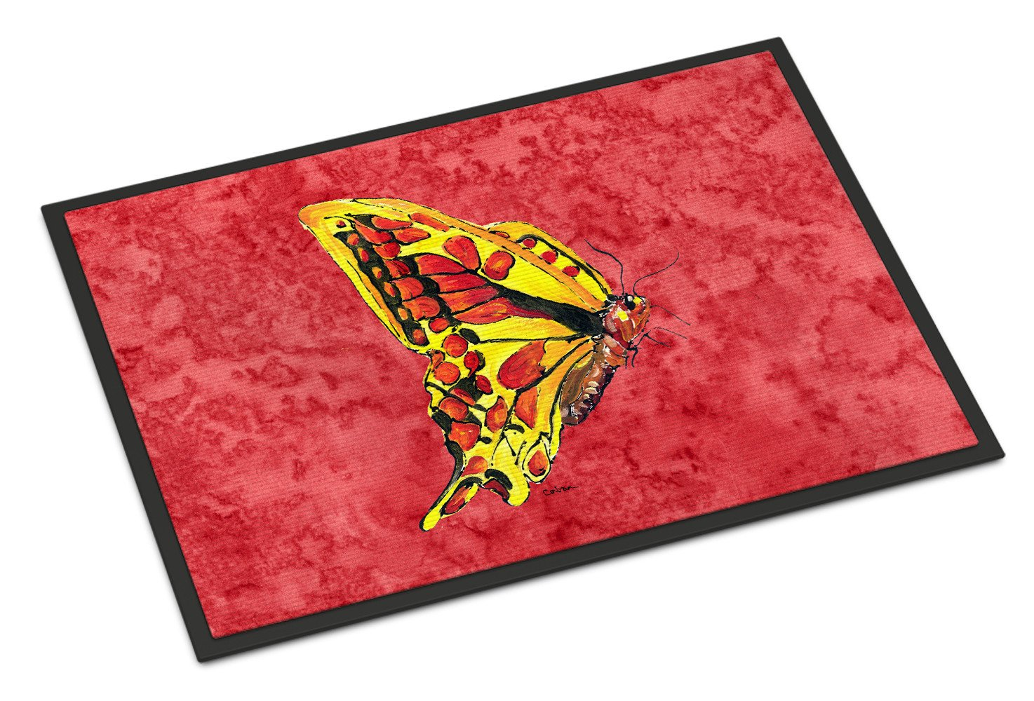 Butterfly on Red Indoor or Outdoor Mat 18x27 Doormat - the-store.com