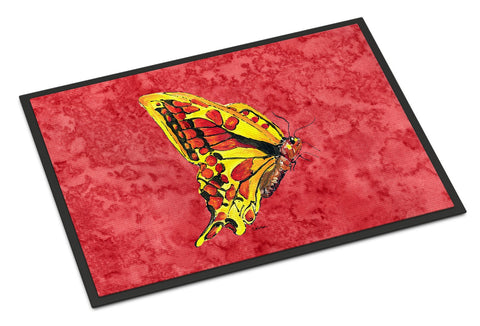 Buy this Butterfly on Red Indoor or Outdoor Mat 18x27 Doormat