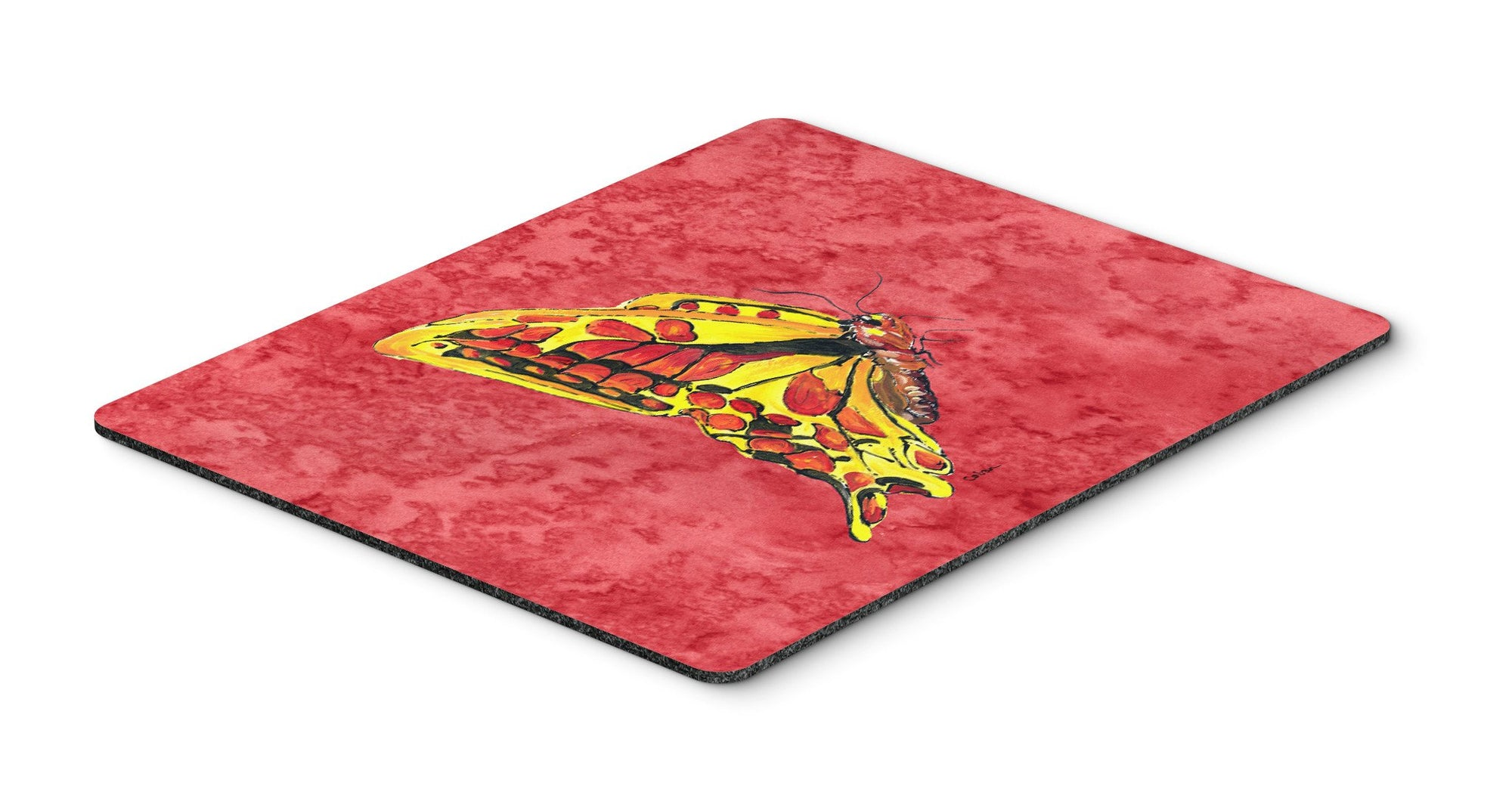 Butterfly on Red Mouse Pad, Hot Pad or Trivet by Caroline's Treasures