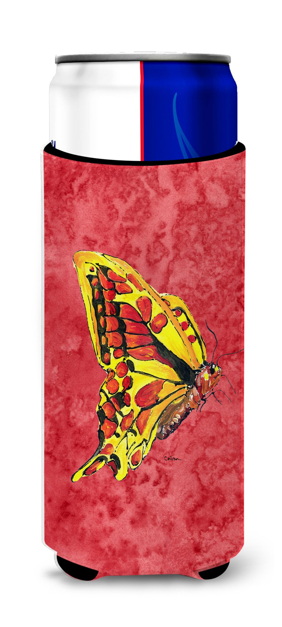 Butterfly on Red Ultra Beverage Insulators for slim cans 8862MUK by Caroline's Treasures