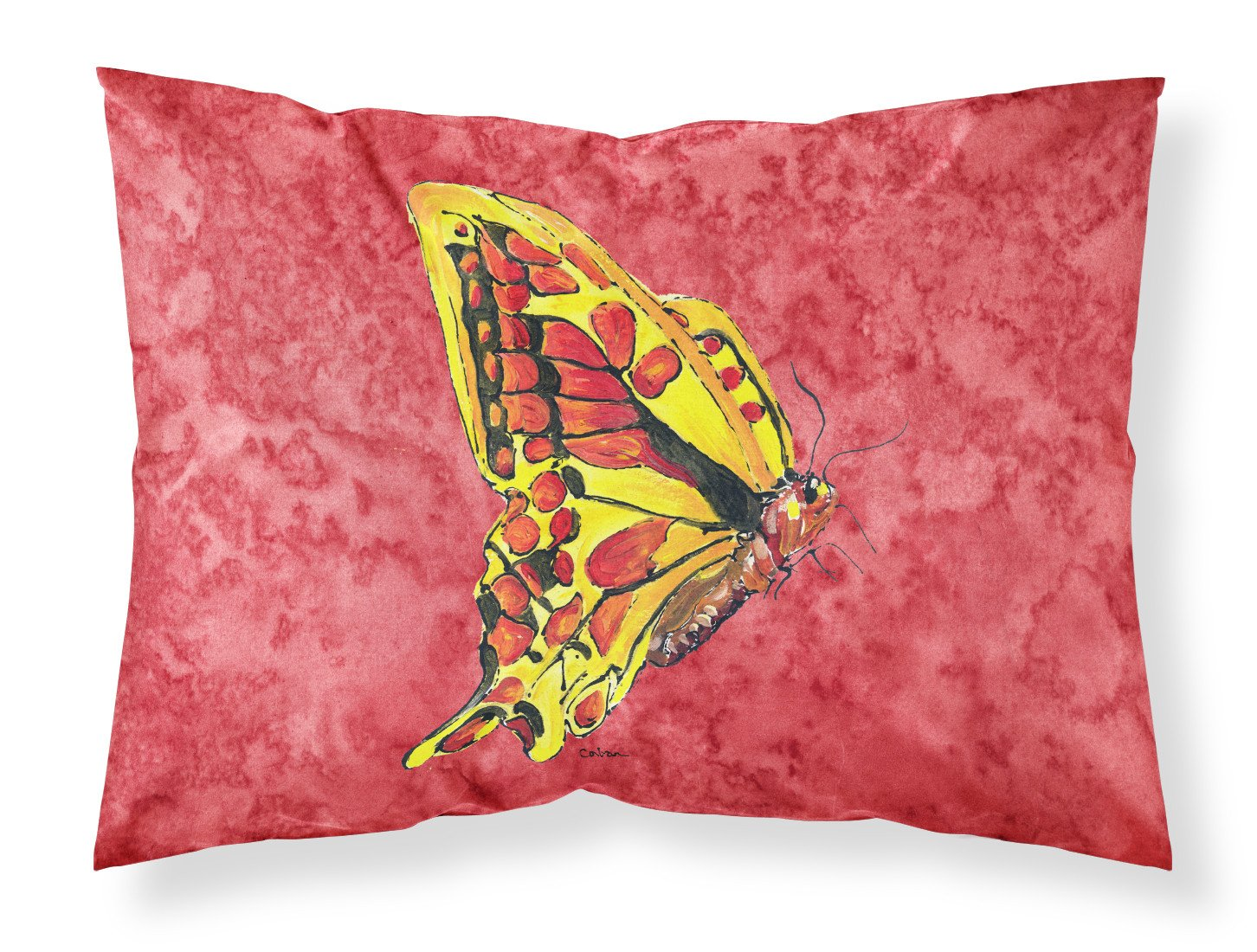 Butterfly on Red Moisture wicking Fabric standard pillowcase by Caroline's Treasures