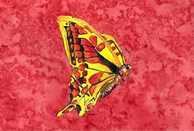 Butterfly on Red Fabric Placemat by Caroline's Treasures