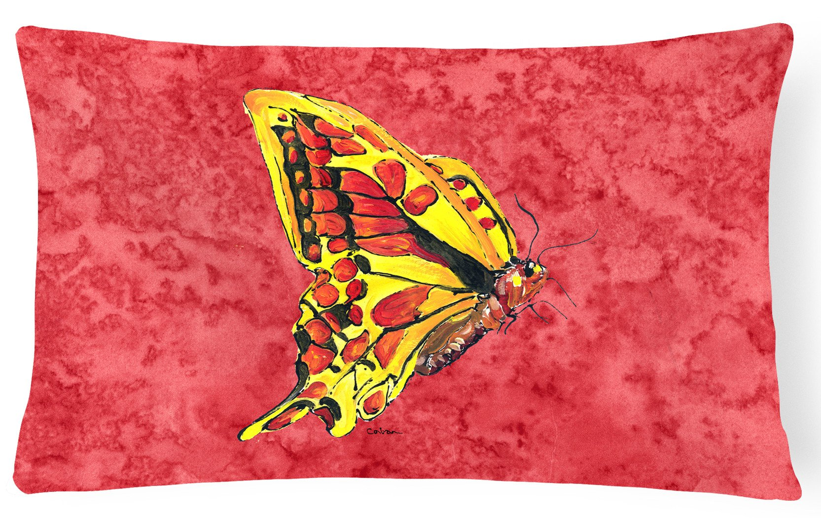Butterfly on Red   Canvas Fabric Decorative Pillow by Caroline's Treasures