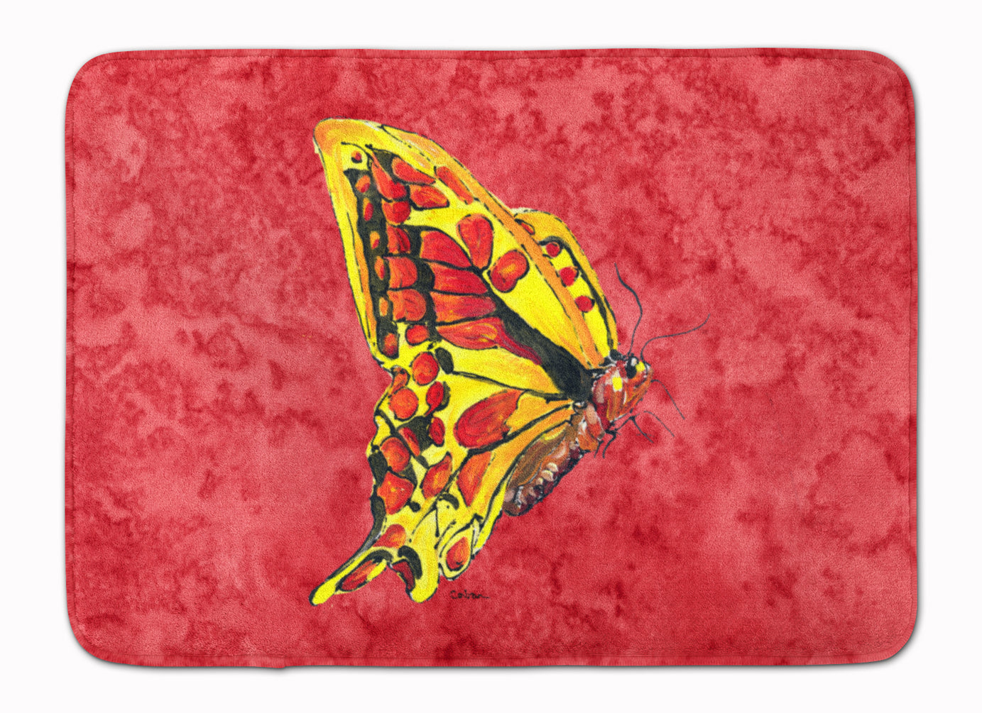 Butterfly on Red Machine Washable Memory Foam Mat 8862RUG by Caroline's Treasures