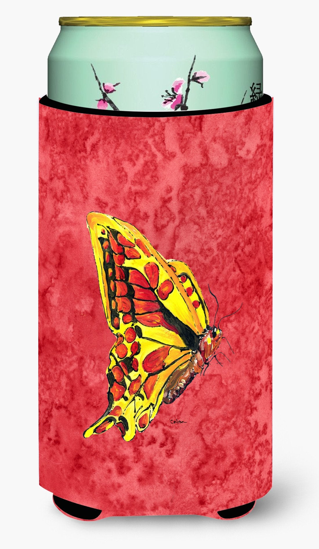 Butterfly on Red  Tall Boy Beverage Insulator Beverage Insulator Hugger by Caroline's Treasures