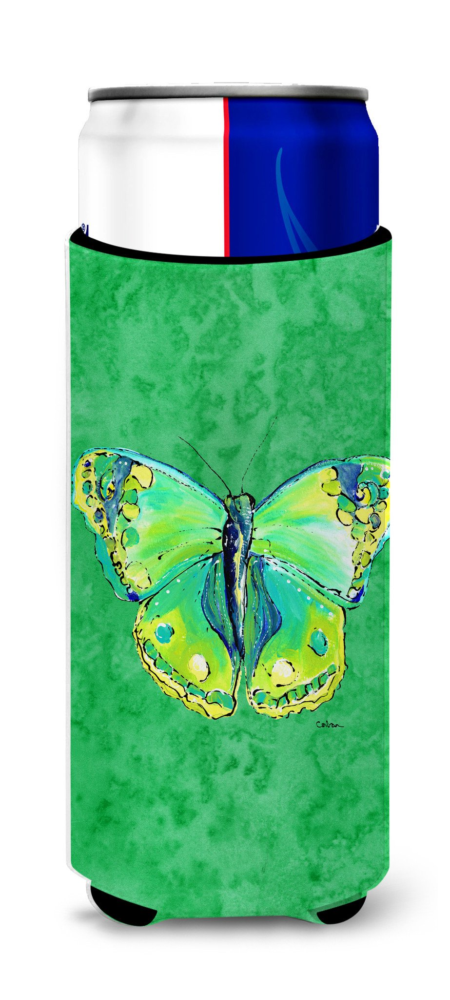 Butterfly Green on Green Ultra Beverage Insulators for slim cans 8863MUK - the-store.com