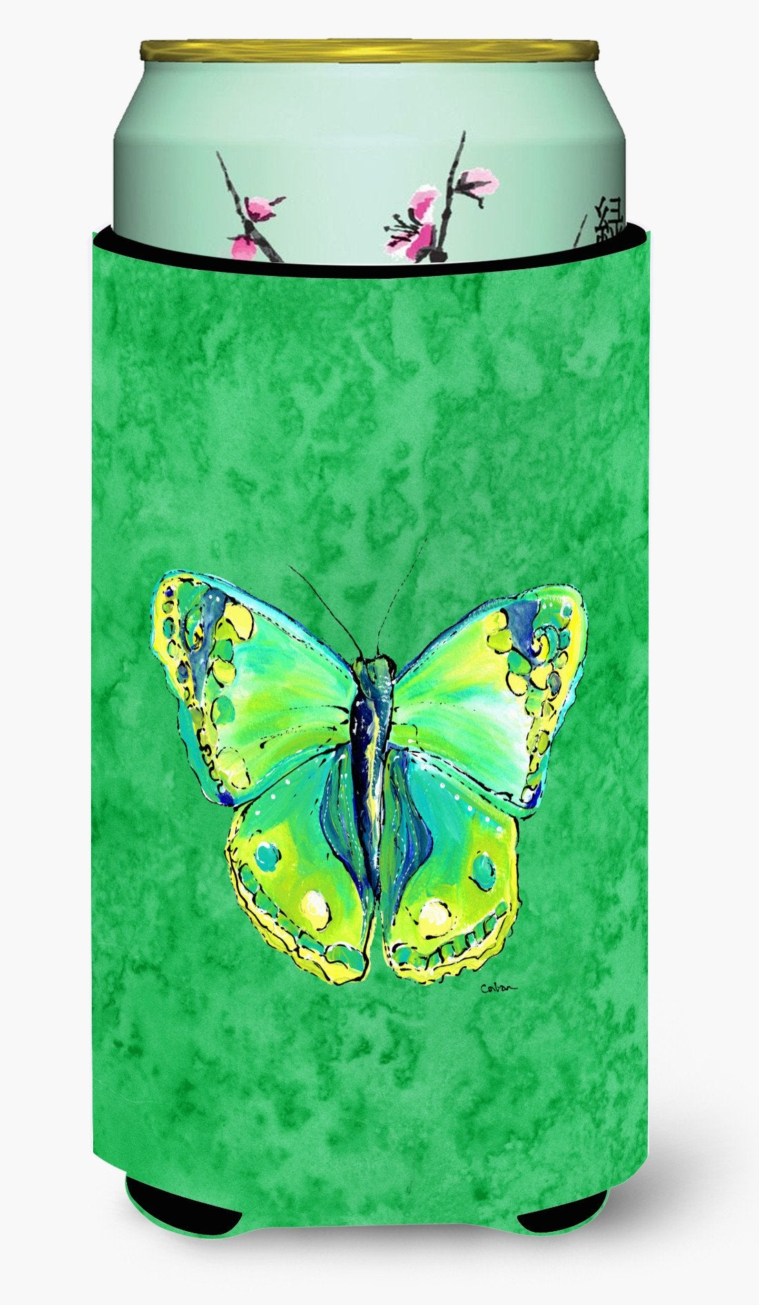 Buy this Butterfly Green on Green  Tall Boy Beverage Insulator Beverage Insulator Hugger